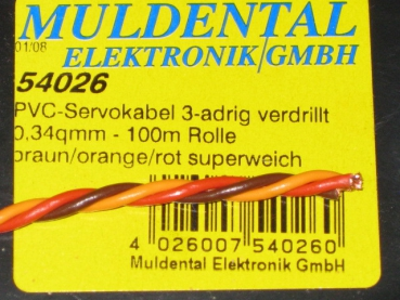 verdrilltes Servokabel 0,34qmm PVC Litze Meterware - Made in Germany -